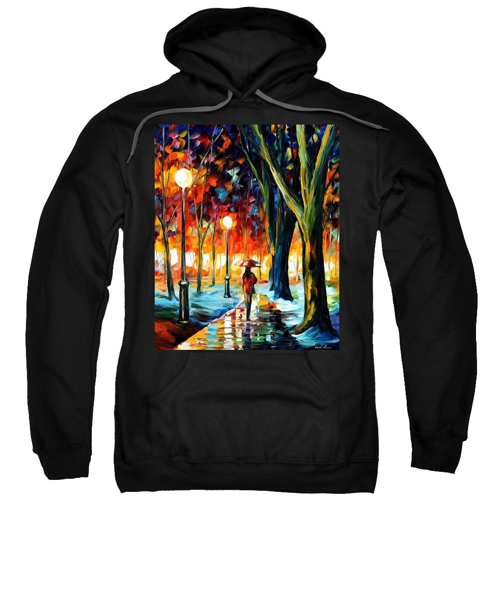 Afremov Sweatshirt featuring the painting Cold Winter by Leonid Afremov