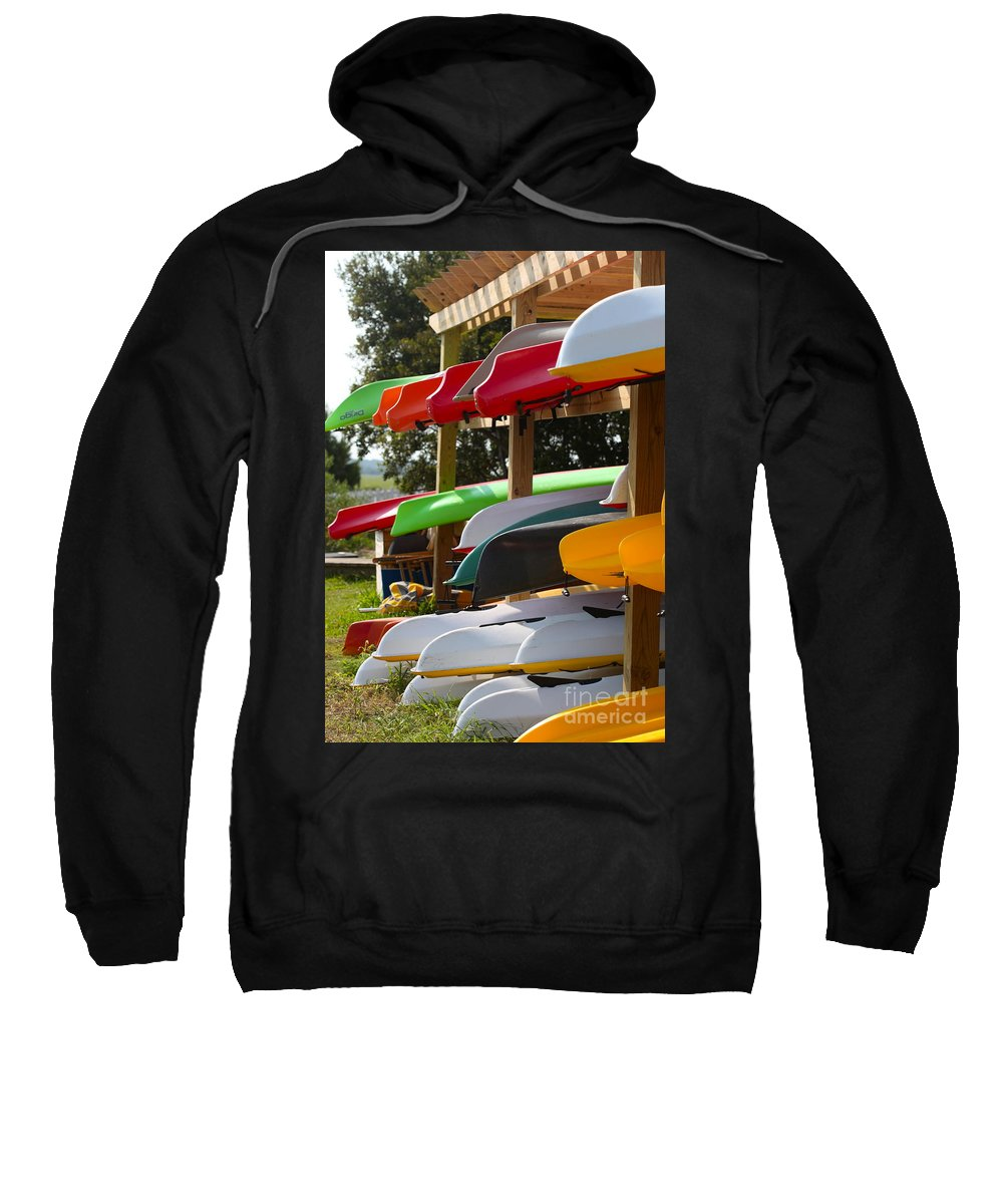 Canoes Sweatshirt featuring the photograph Colorful Canoes by Nadine Rippelmeyer