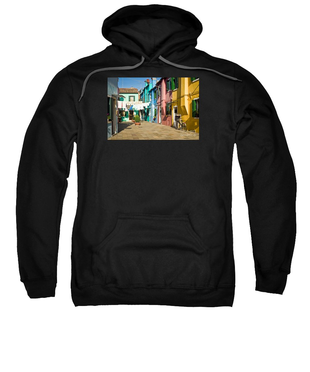 Colorful Piazza Sweatshirt featuring the photograph Colorful Piazza by Prints of Italy
