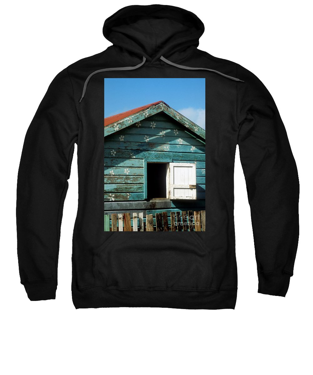 Ambergris Caye Sweatshirt featuring the photograph Colorful Shack by John Greim