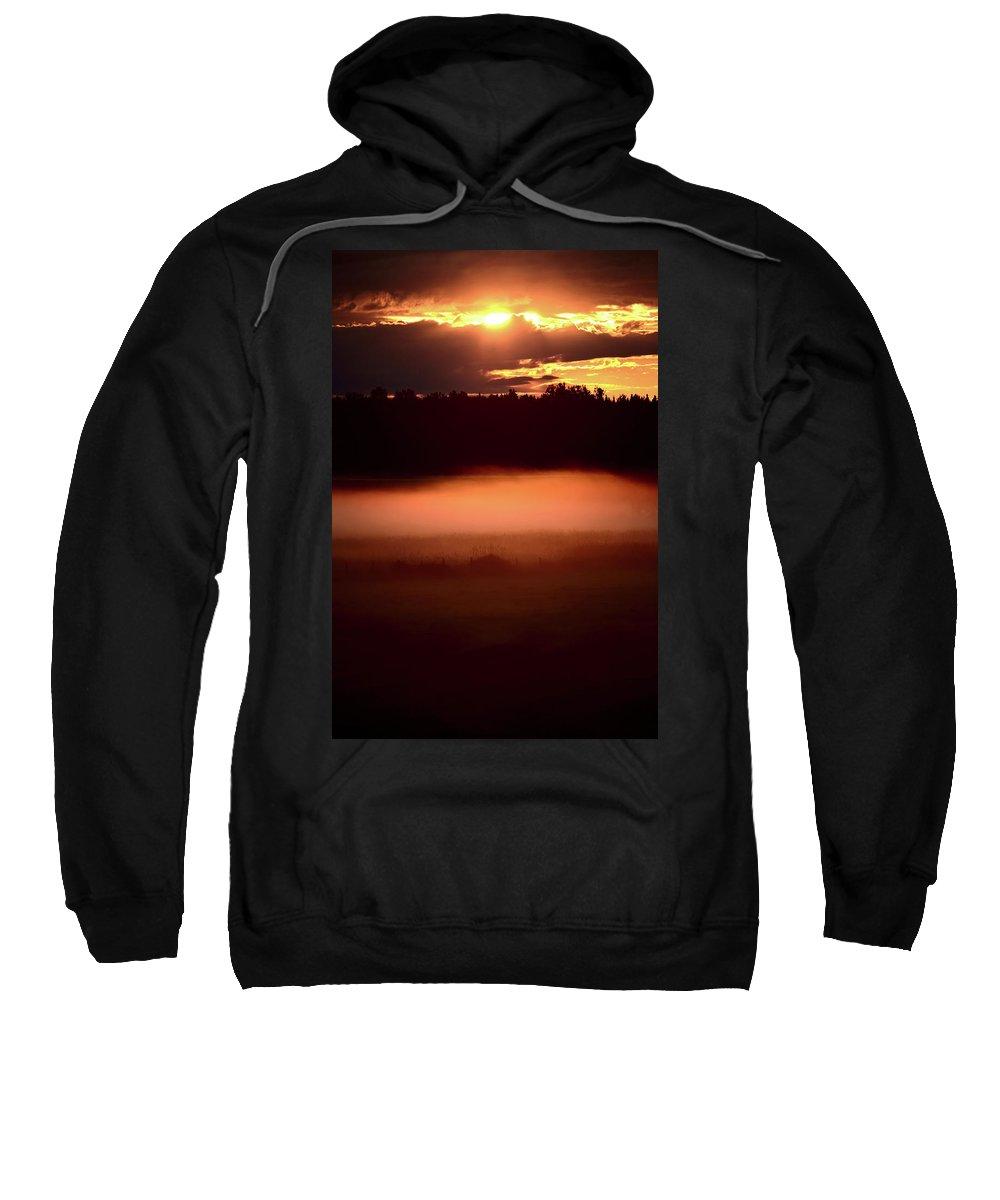 Sun Sweatshirt featuring the digital art Colorful Skies Nearing Sunset by Mark Duffy