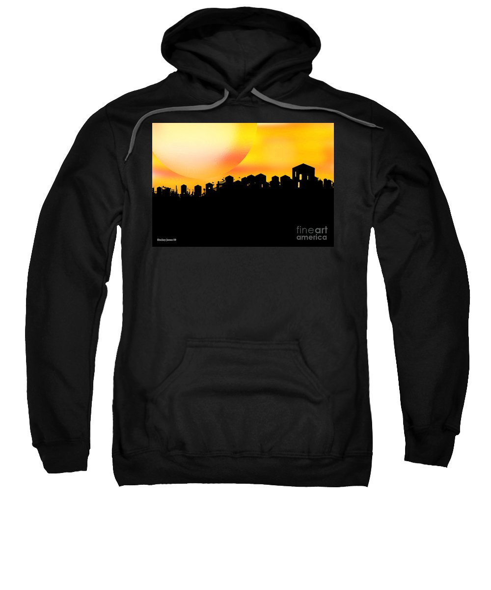 Sunset Sweatshirt featuring the digital art Colossal Ending by Shelley Jones