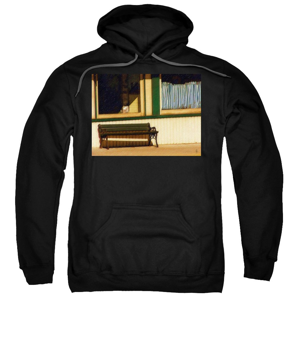 Bench Sweatshirt featuring the photograph Come Sit A Spell by Sandy MacGowan