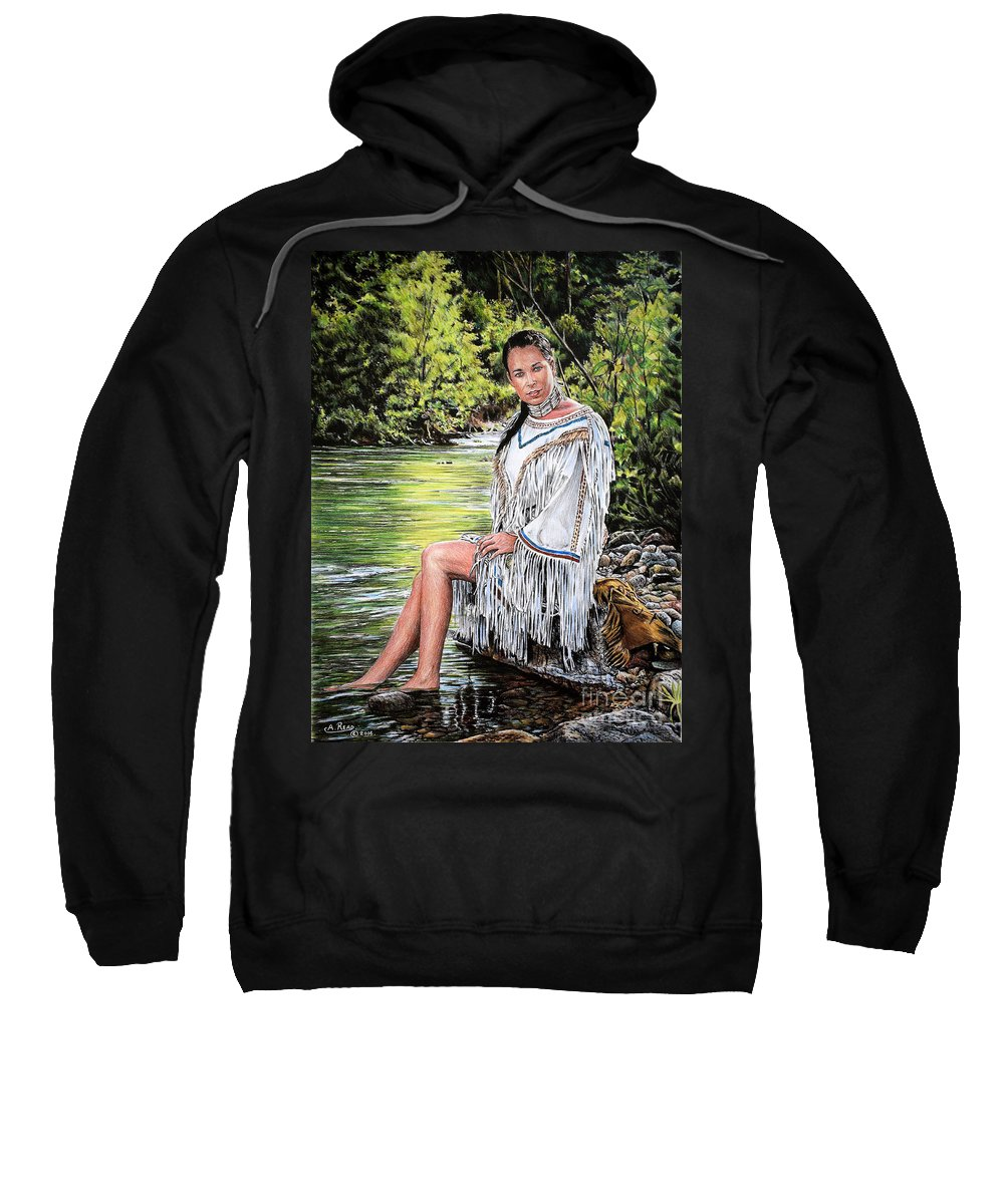 Native American Sweatshirt featuring the drawing Come Sit With Me by Andrew Read