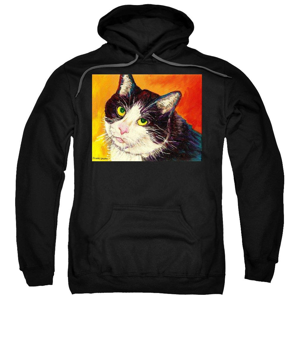 Cats Sweatshirt featuring the painting Commission Your Pets Portrait By Artist Carole Spandau Bfa Ecole Des Beaux Arts by Carole Spandau