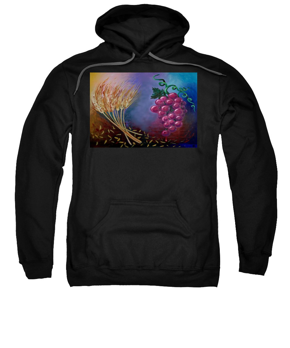 Communion Sweatshirt featuring the painting Communion by Kevin Middleton