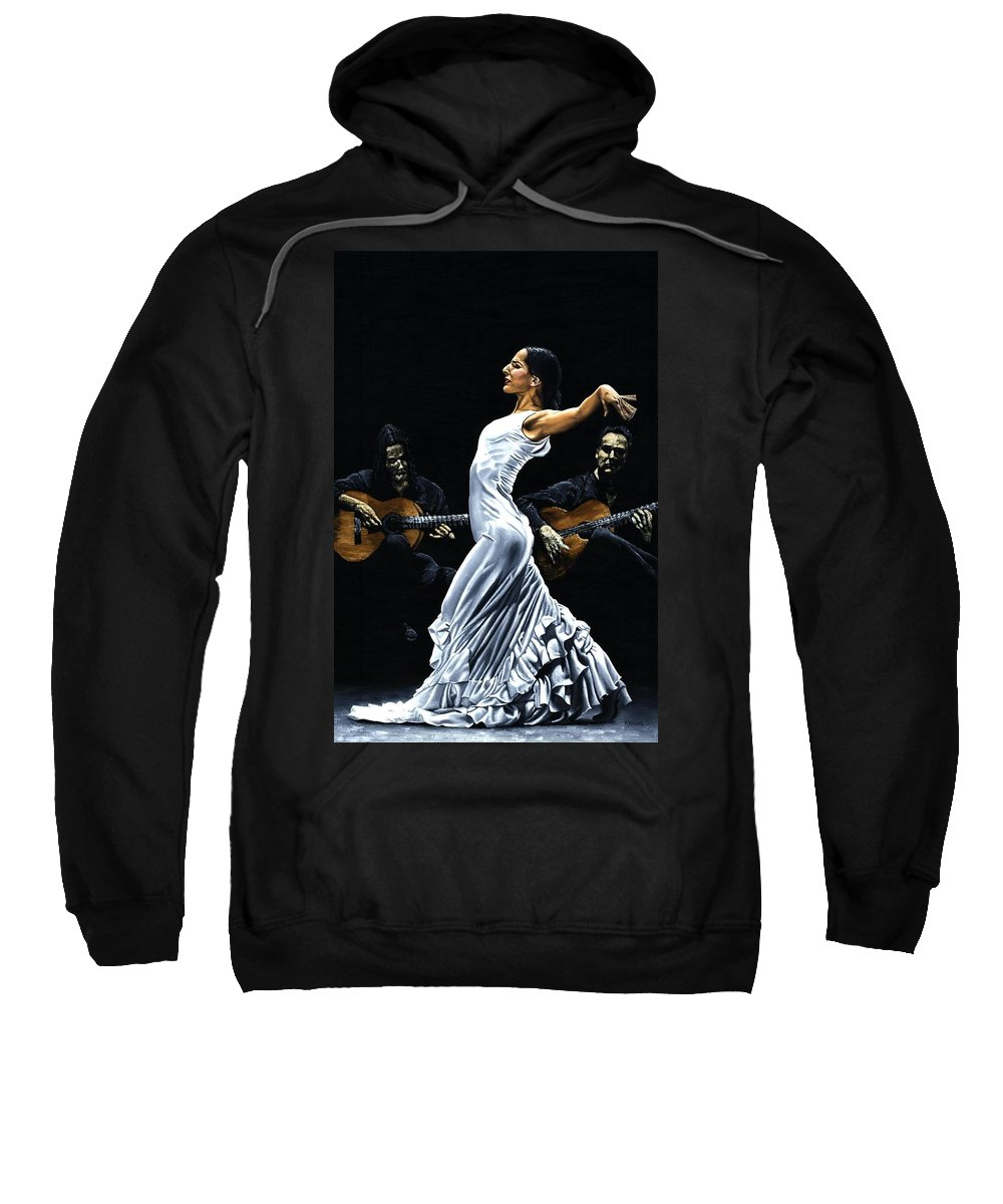 Flamenco Sweatshirt featuring the painting Concentracion Del Funcionamiento Del Flamenco by Richard Young