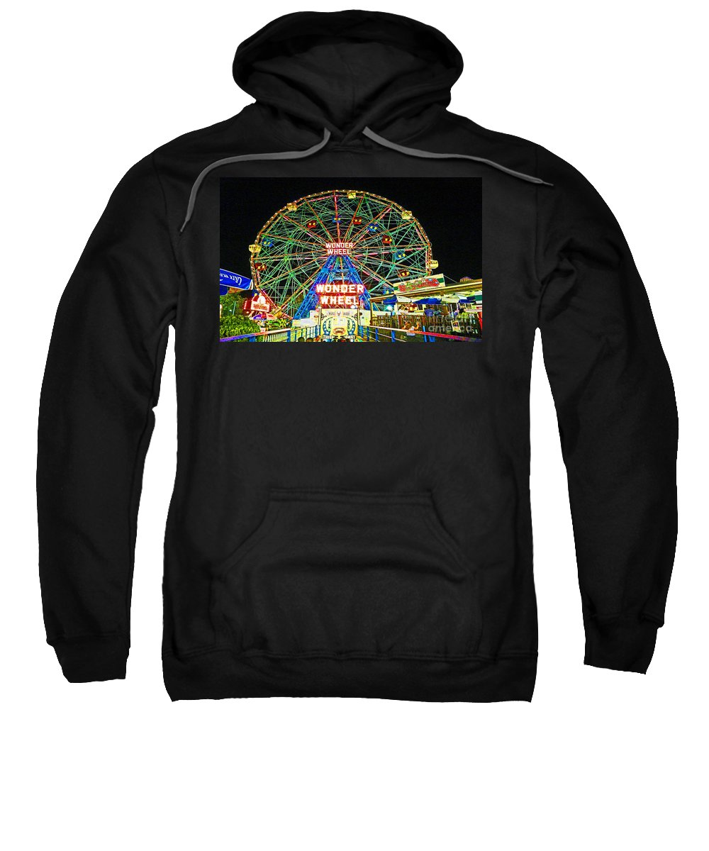 Coney Island Sweatshirt featuring the photograph Coney Island's Wonderous Wonder Wheel In Neon by Kendall Eutemey