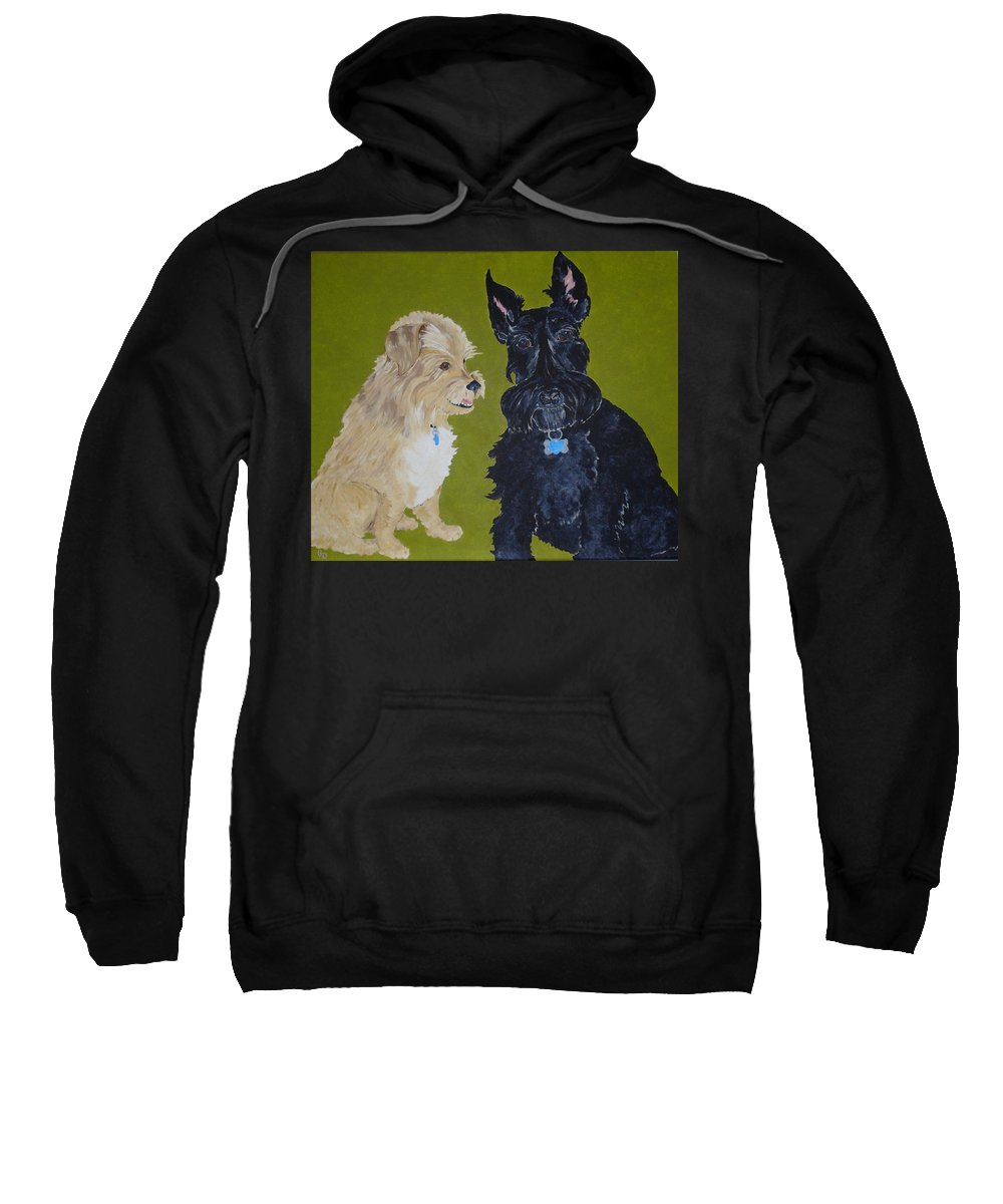 Scottiy Sweatshirt featuring the painting Connie's Pals by Georgia Donovan