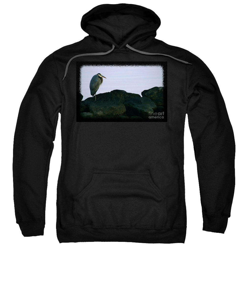 Clay Sweatshirt featuring the photograph Contemplating Heron by Clayton Bruster