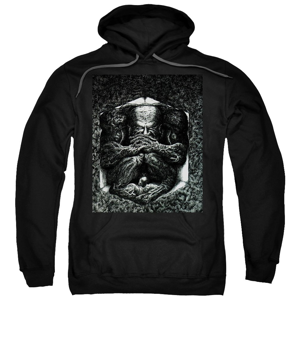 Dark Sweatshirt featuring the drawing Contemplation by Tobey Anderson
