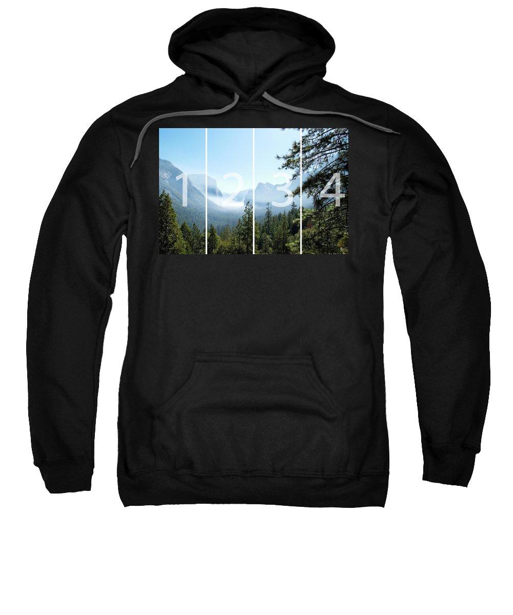 El Capitan Sweatshirt featuring the digital art Controlled Burn Of Yosemite Panoramic Map by Michael Bessler
