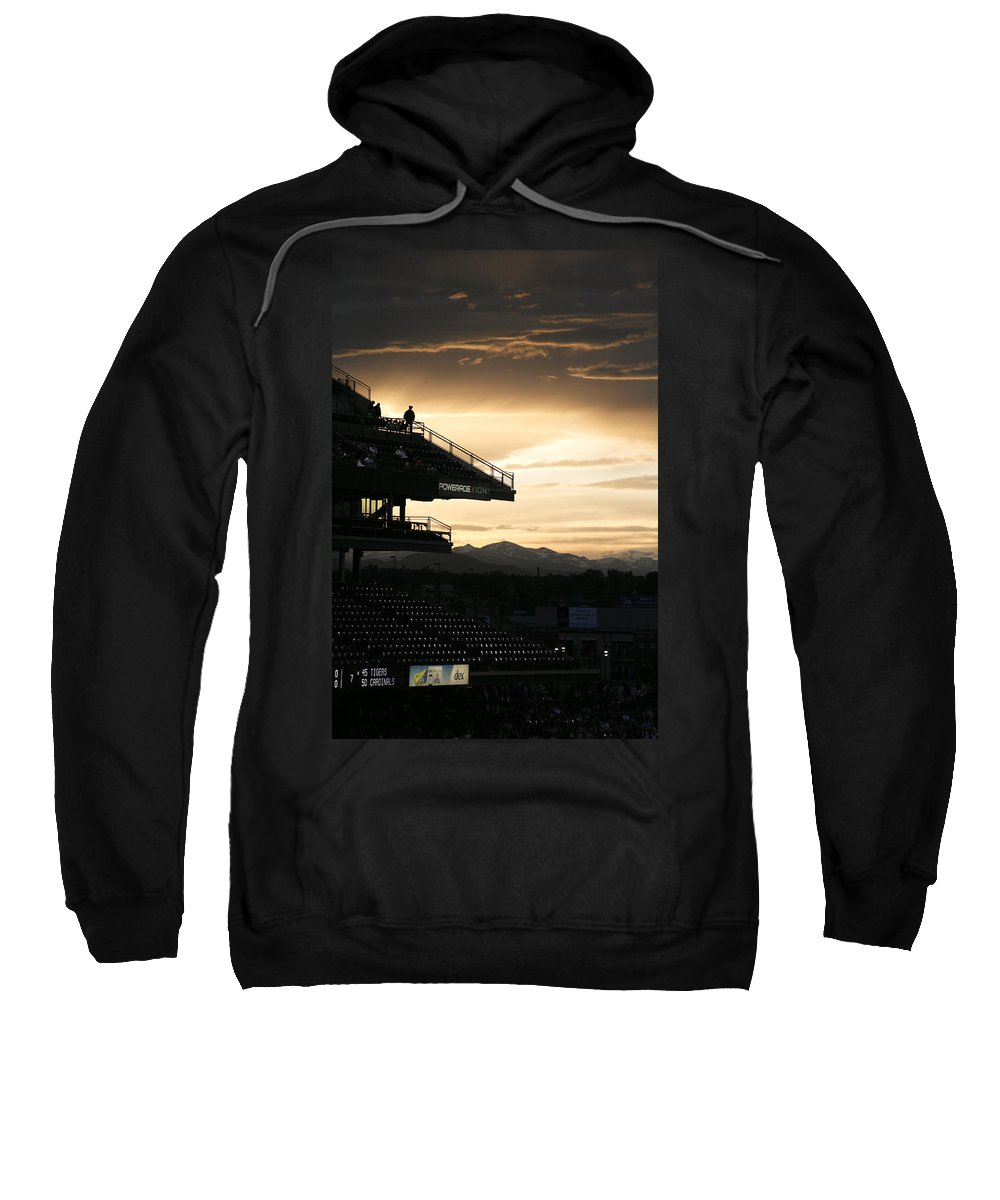 Americana Sweatshirt featuring the photograph Coors Field At Sunset by Marilyn Hunt