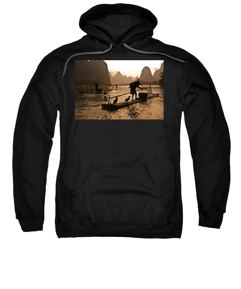 Asia Sweatshirt featuring the photograph Cormorant Fishermen At Sunset by Michele Burgess