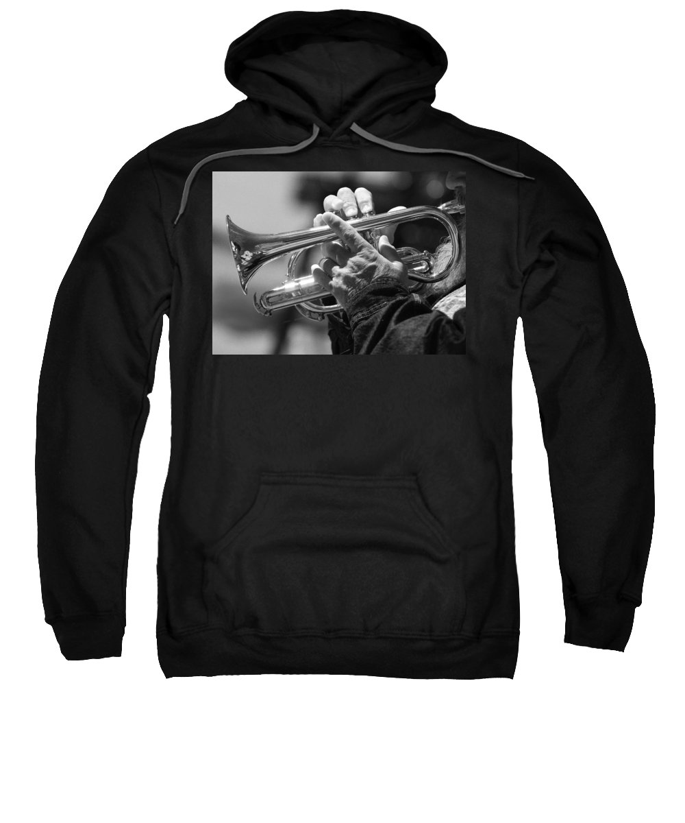 Trumpet Sweatshirt featuring the photograph Cornet On Pearl In Bw by James BO Insogna