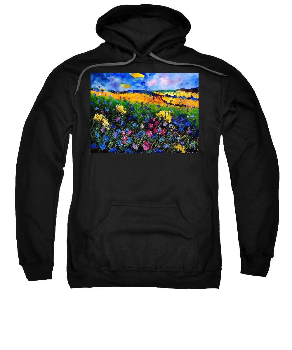 Flowers Sweatshirt featuring the painting Cornflowers 680808 by Pol Ledent