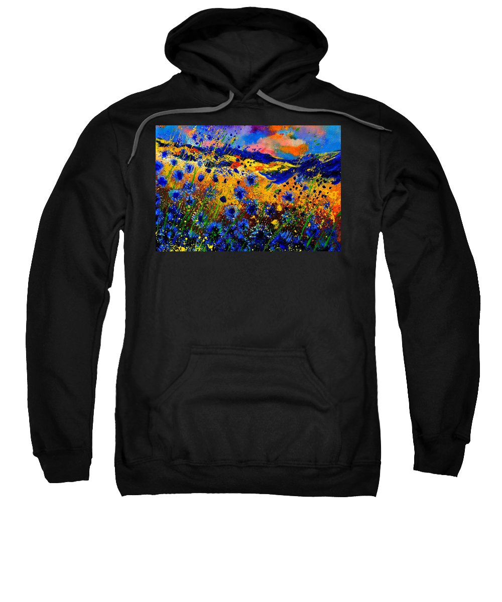 Sweatshirt featuring the painting Cornflowers 746 by Pol Ledent