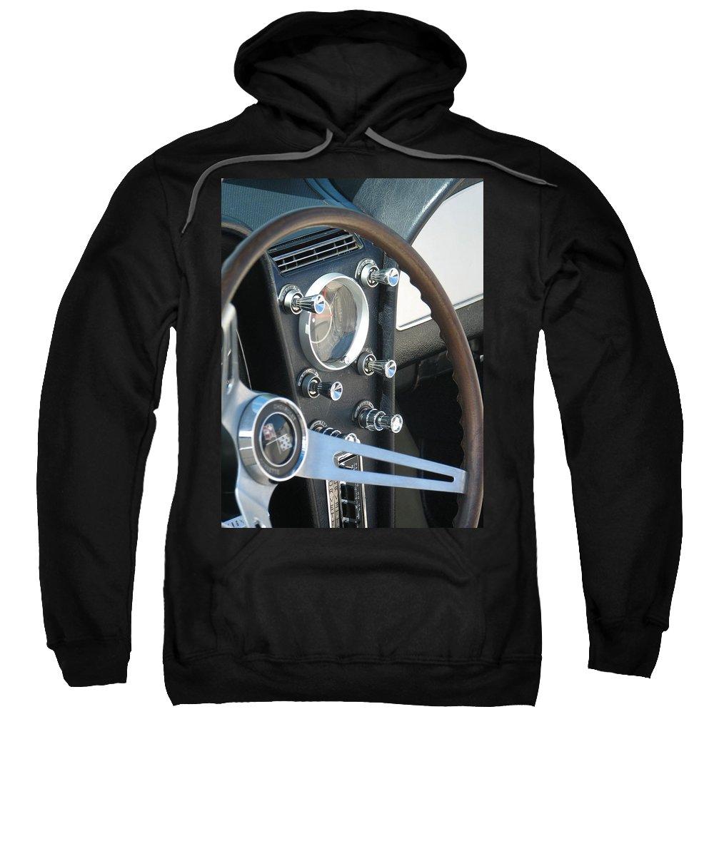 Corvette Sweatshirt featuring the photograph Corvette Console by Kelly Mezzapelle