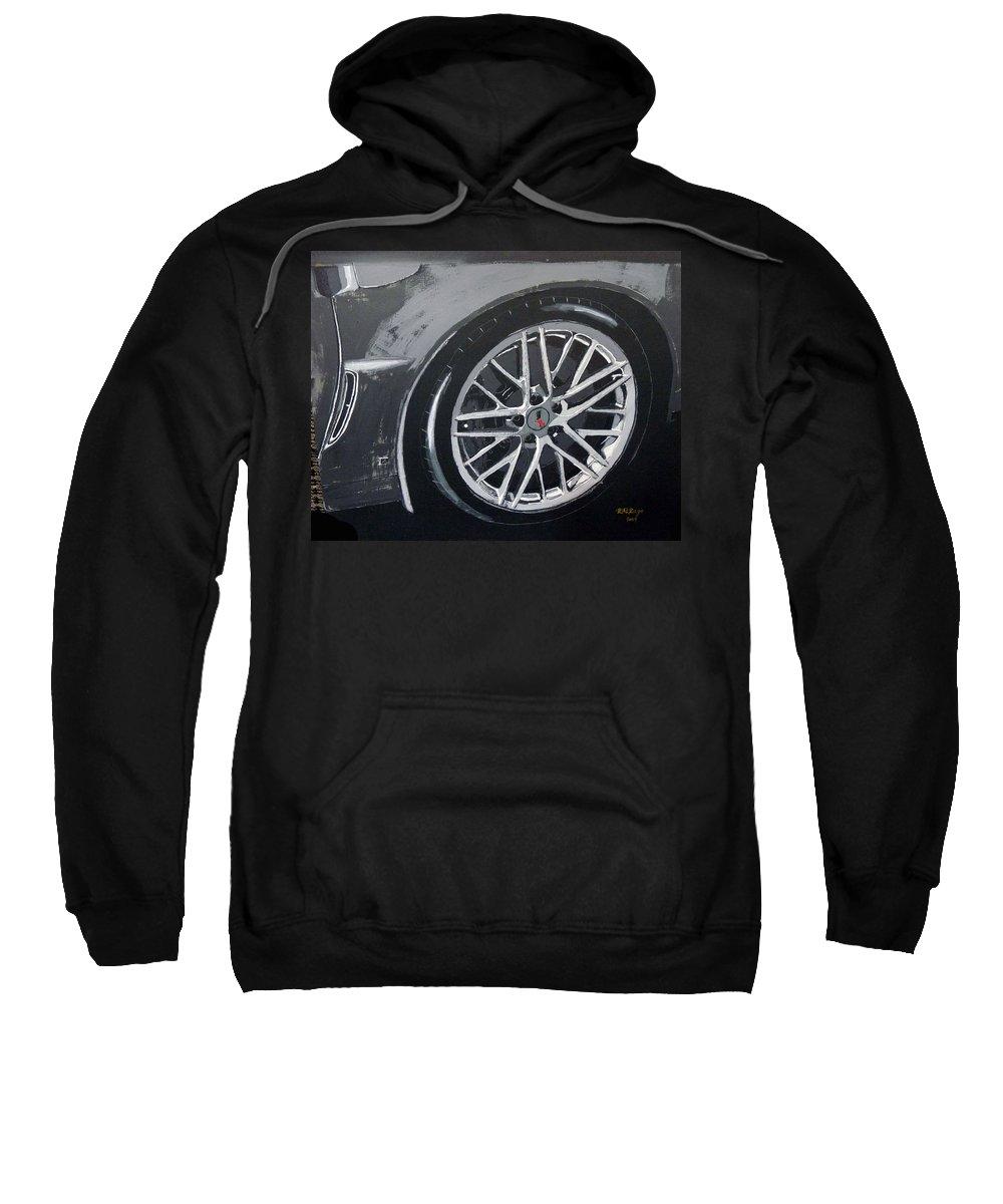 Corvette Sweatshirt featuring the painting Corvette Wheel by Richard Le Page