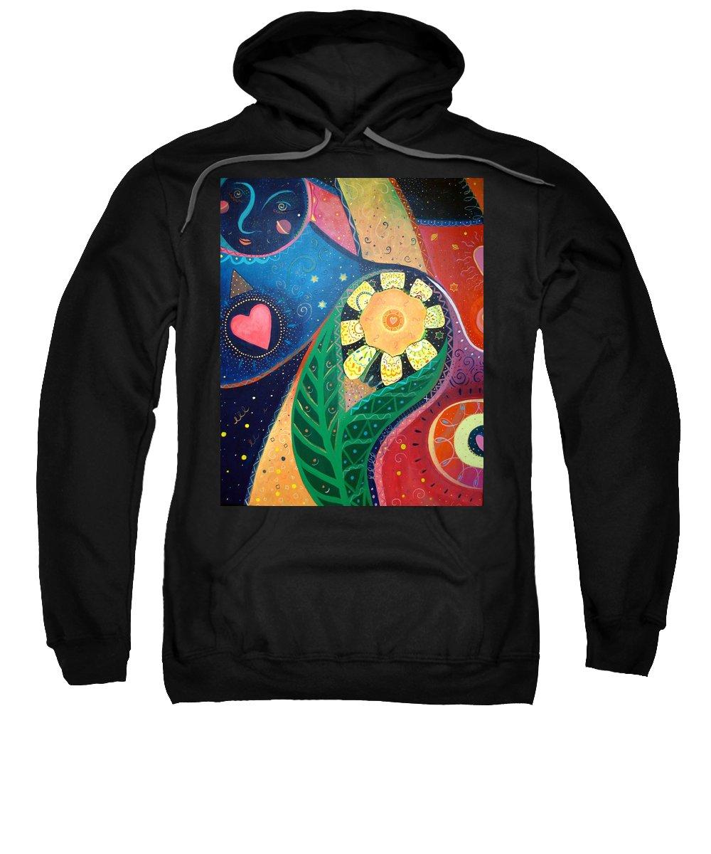 Yin And Yang Sweatshirt featuring the painting Cosmic Carnival II Aka Duality by Helena Tiainen