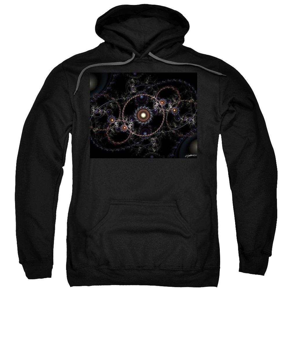 Abstract Sweatshirt featuring the digital art Cosmic Clockworks by Casey Kotas