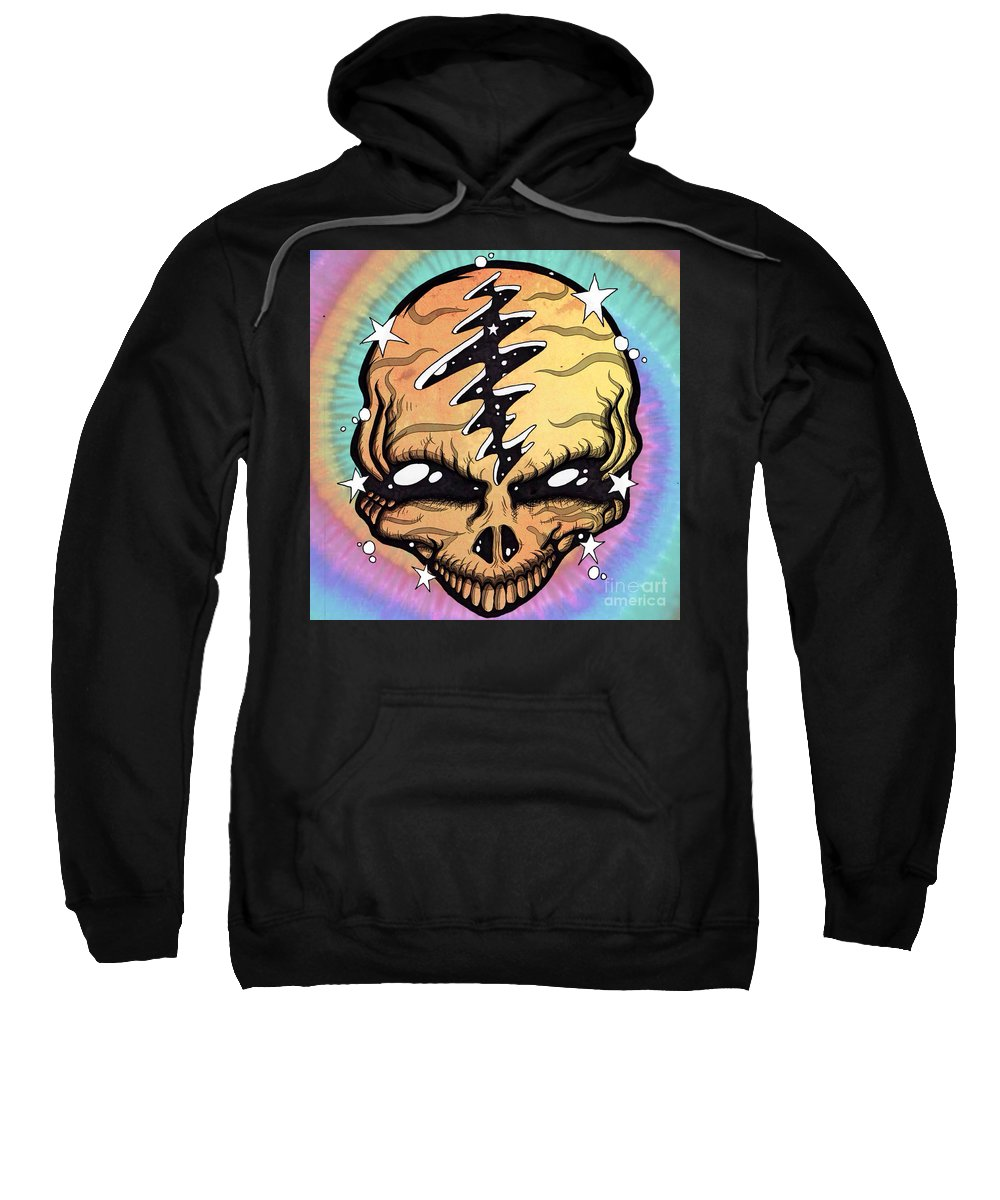 Grateful Dead Sweatshirt featuring the drawing Cosmic Head by Chris Kraft