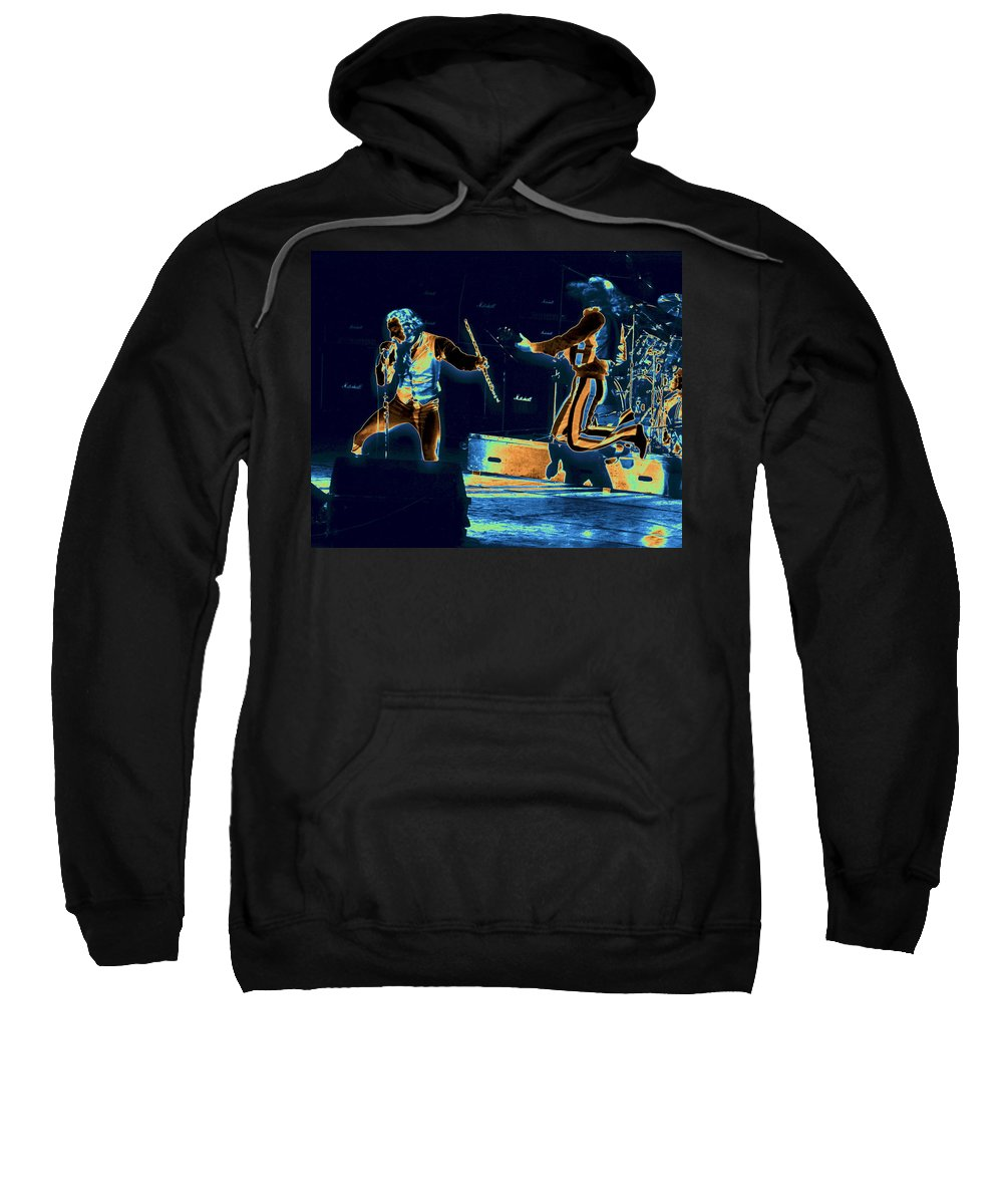 Jethro Tull Sweatshirt featuring the photograph Cosmic Ian And Leaping Martin by Ben Upham