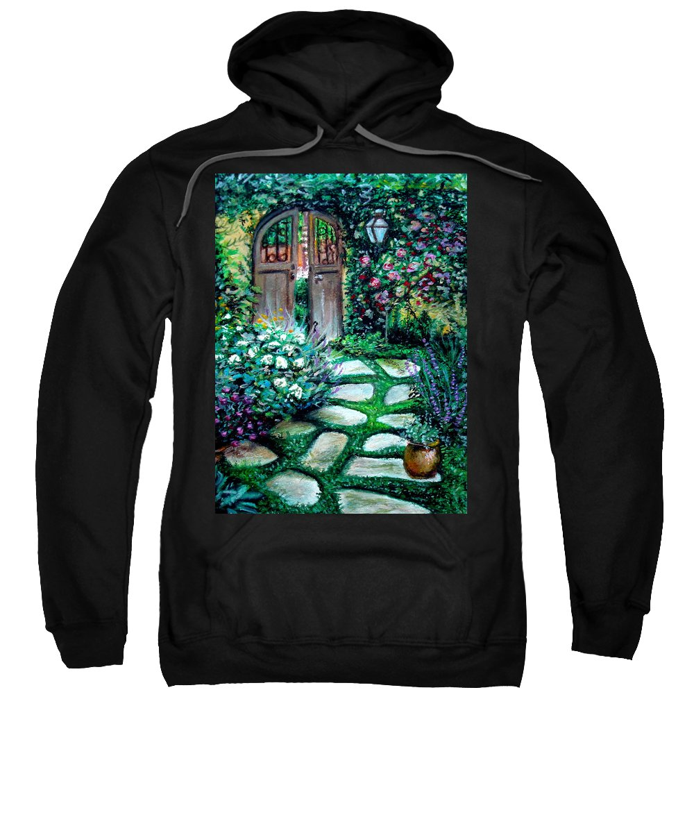 Landscape Sweatshirt featuring the pastel Cottage Gates by Elizabeth Robinette Tyndall