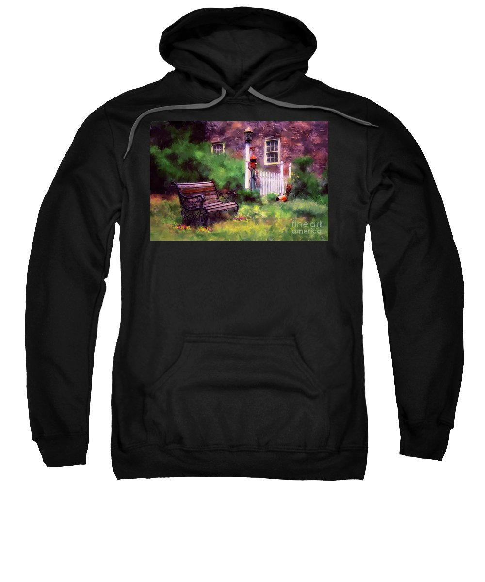 Bench Sweatshirt featuring the photograph Country Garden by Lois Bryan