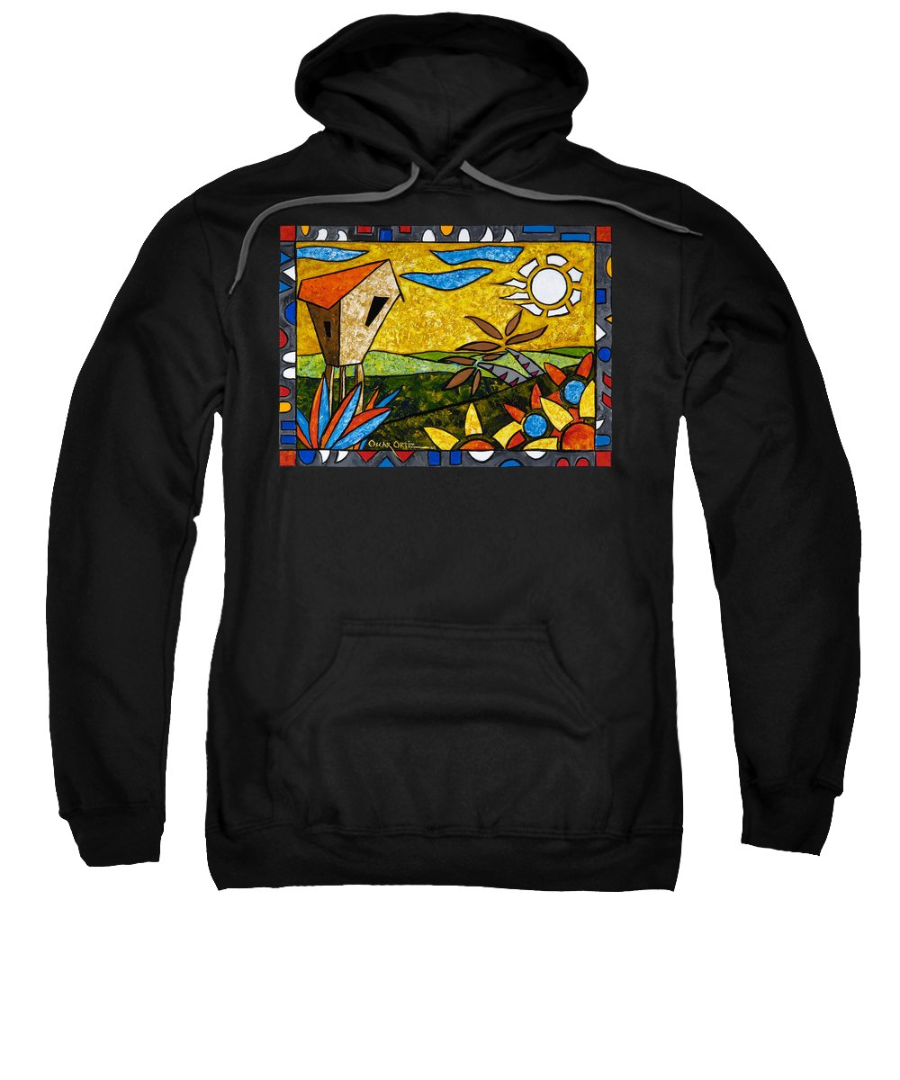 Puerto Rico Sweatshirt featuring the painting Country Peace by Oscar Ortiz