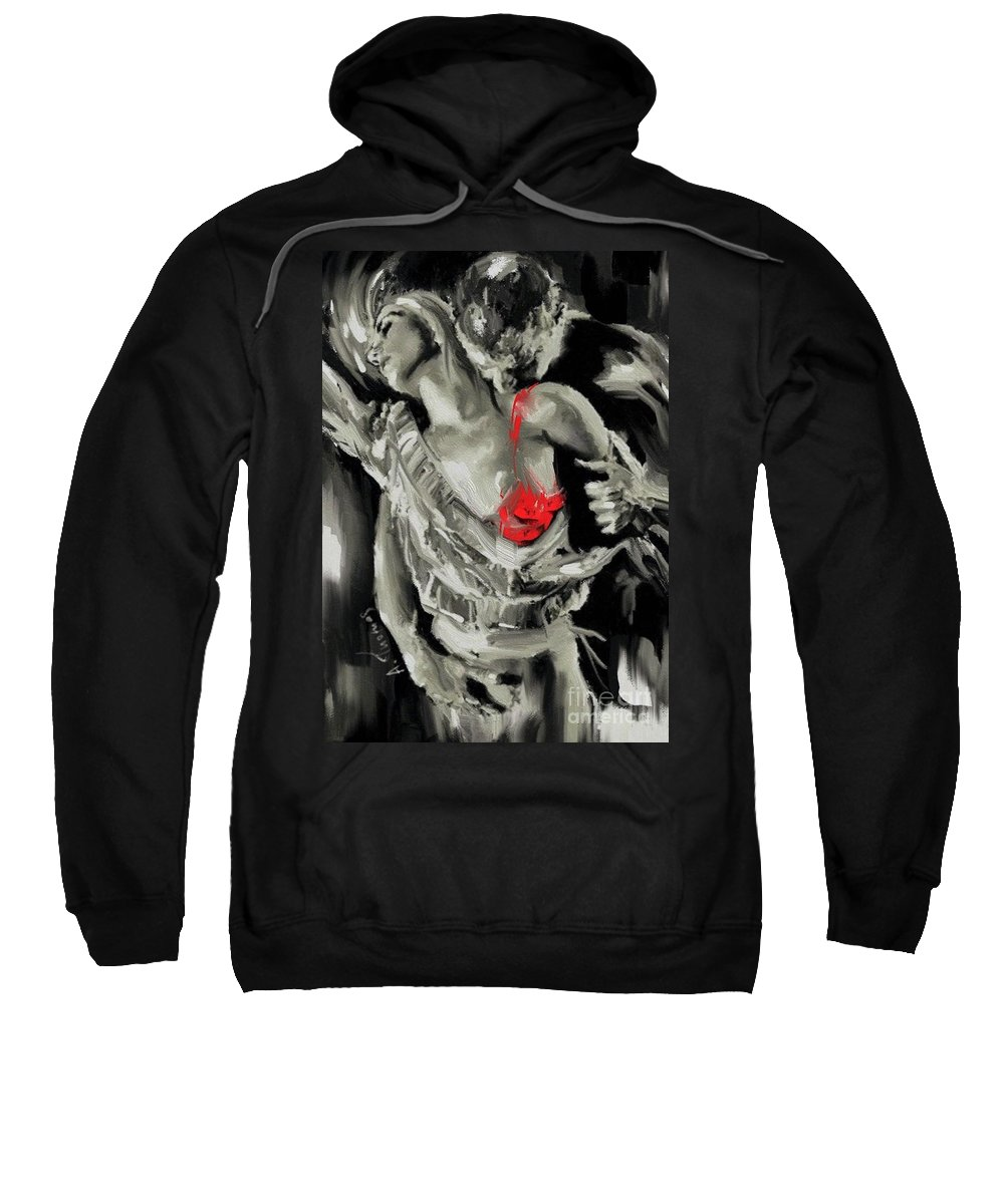 Erotic Sweatshirt featuring the painting Couple Embrace by Alex Thomas