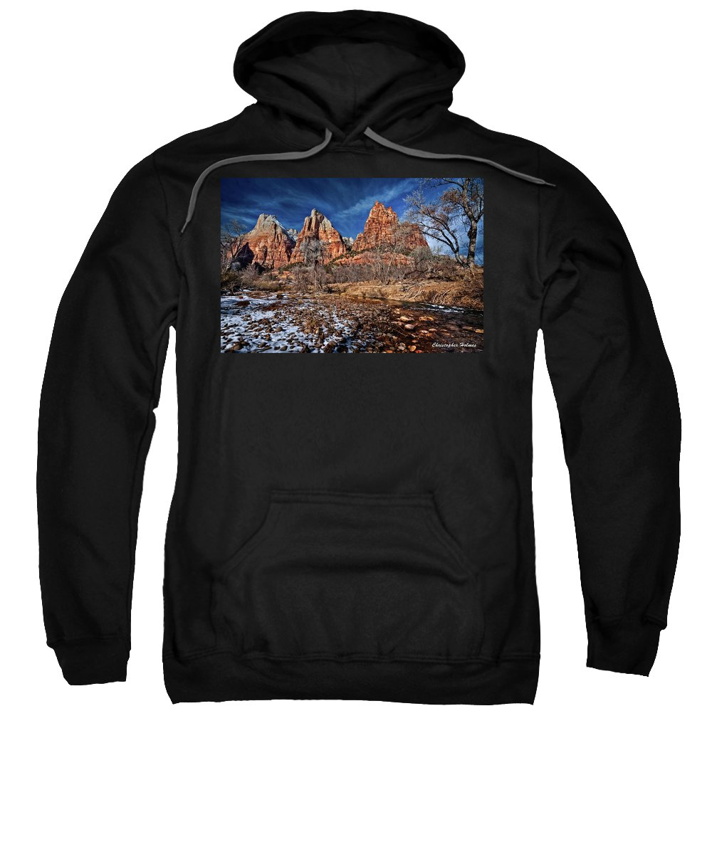 Mountains Sweatshirt featuring the photograph Court Of The Patriarchs II by Christopher Holmes