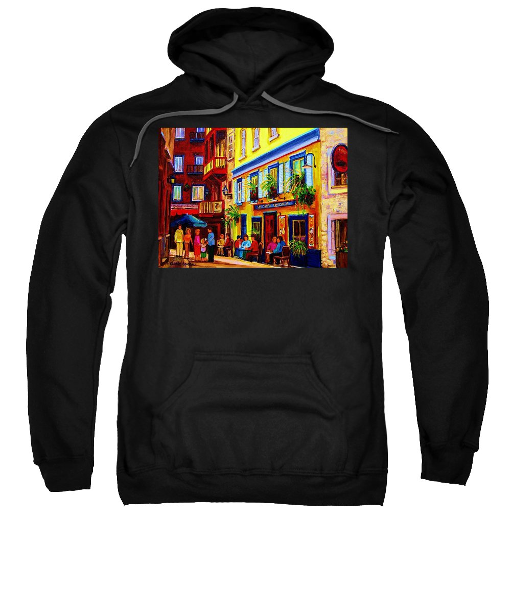 Courtyard Cafes Sweatshirt featuring the painting Courtyard Cafes by Carole Spandau