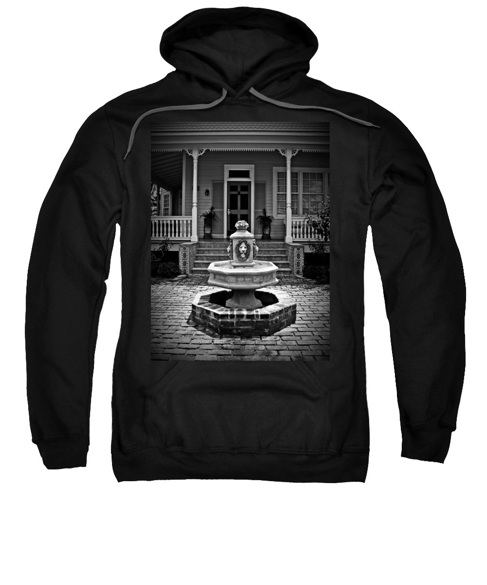Courtyard Sweatshirt featuring the photograph Courtyard Fountain by Perry Webster