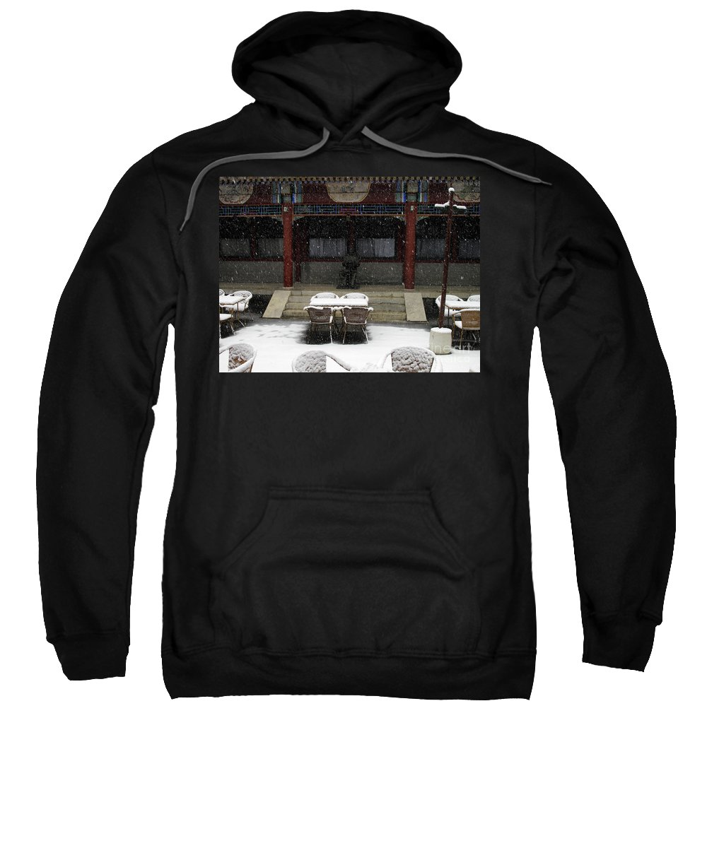 Horizontal Sweatshirt featuring the photograph Courtyard In The Snow by Stefania Levi