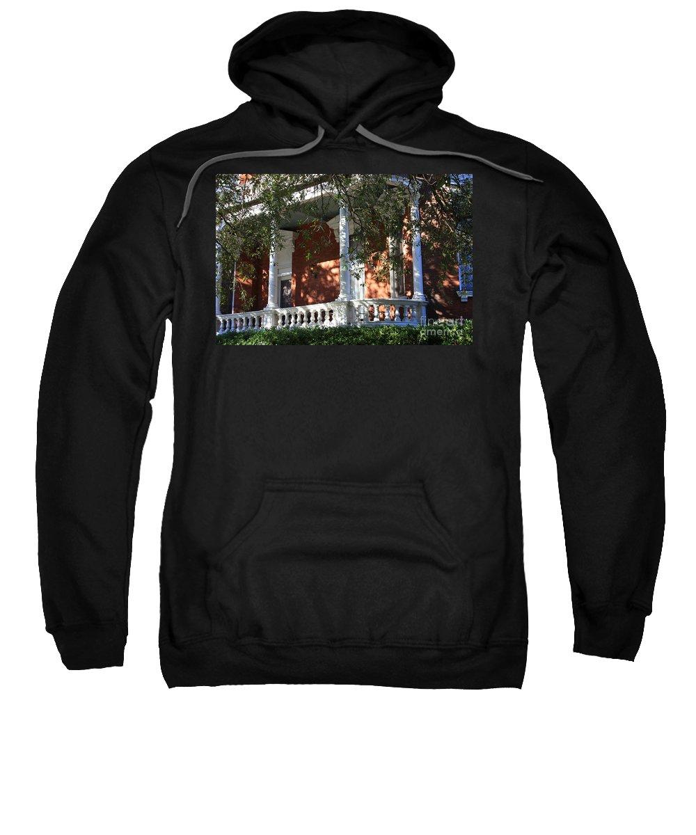Savannah Sweatshirt featuring the photograph Cozy Savannah Porch by Carol Groenen
