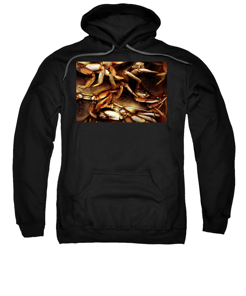 Ocean Sweatshirt featuring the photograph Crabs Awaiting Their Fate by Jennifer Bright