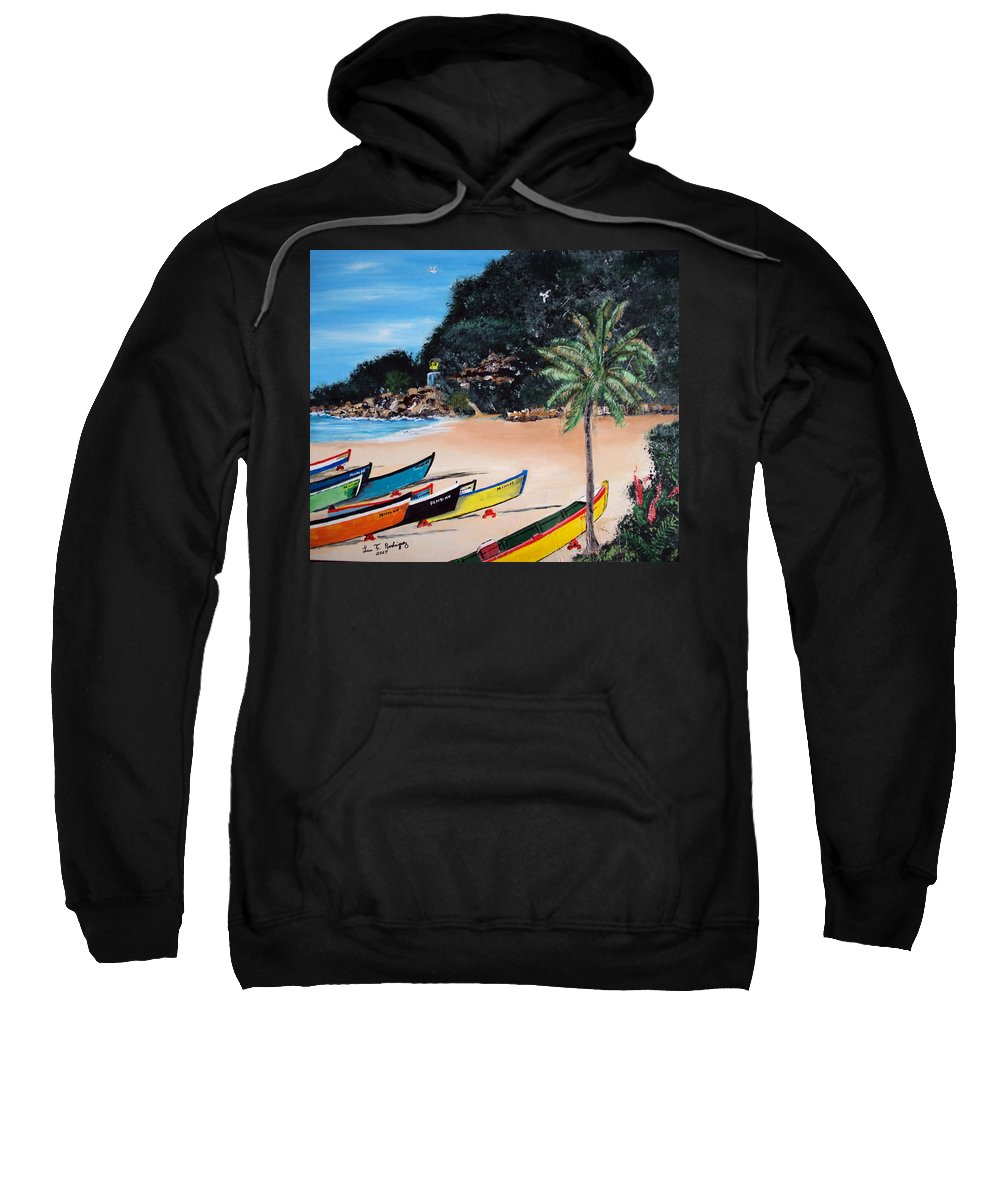 Aguadilla Sweatshirt featuring the painting Crashboat Beach I by Luis F Rodriguez