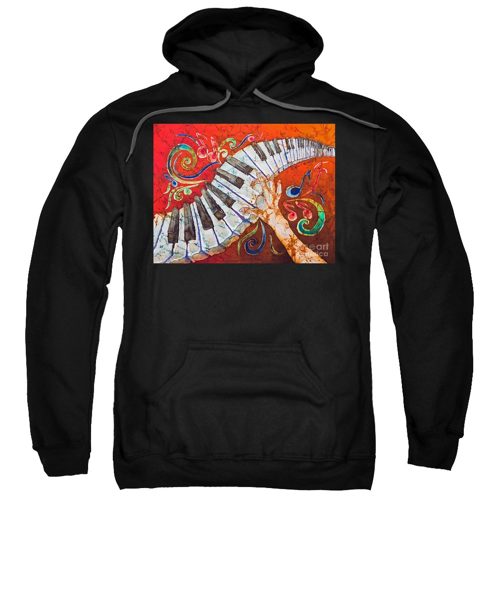 Piano Sweatshirt featuring the tapestry - textile Crazy Fingers - Piano Keyboard by Sue Duda