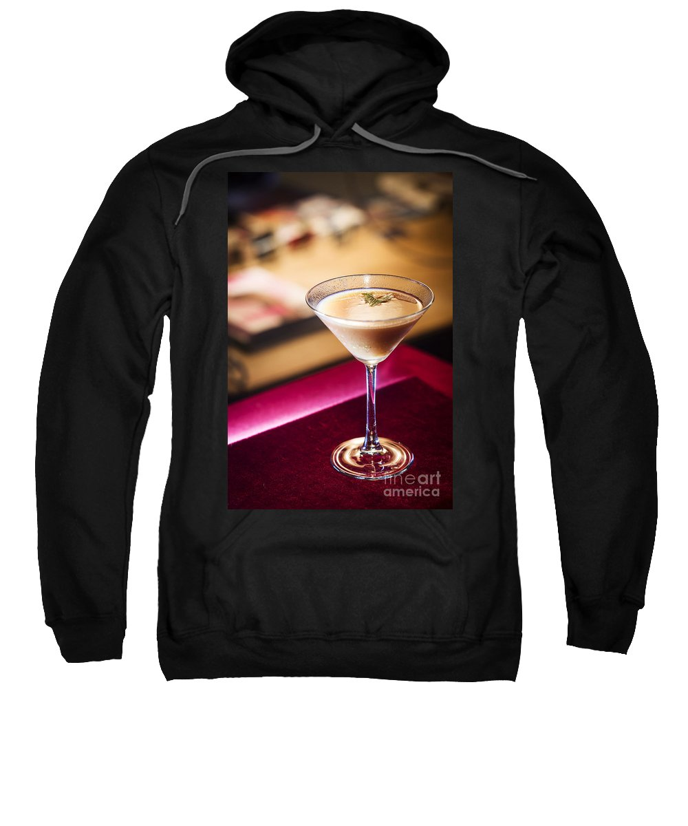 Alcohol Sweatshirt featuring the photograph Creme Caramel Martini Cocktail In Bar by Jacek Malipan