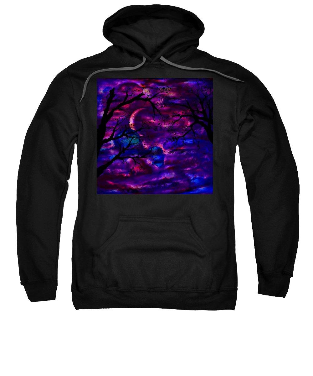 Abstract Sweatshirt featuring the digital art Crescent Moon by Rachel Christine Nowicki