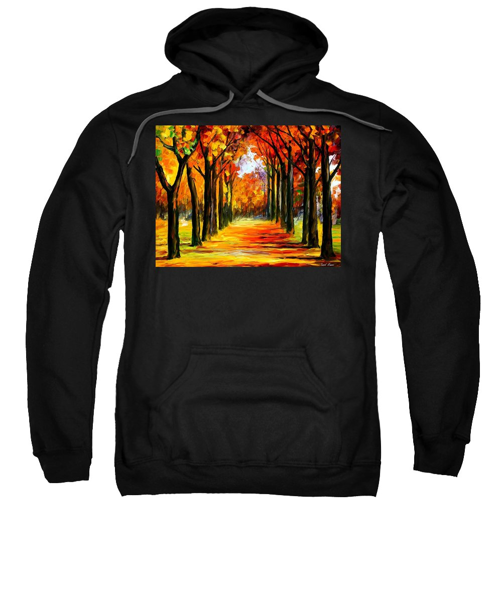 Afremov Sweatshirt featuring the painting Crimson Alley by Leonid Afremov