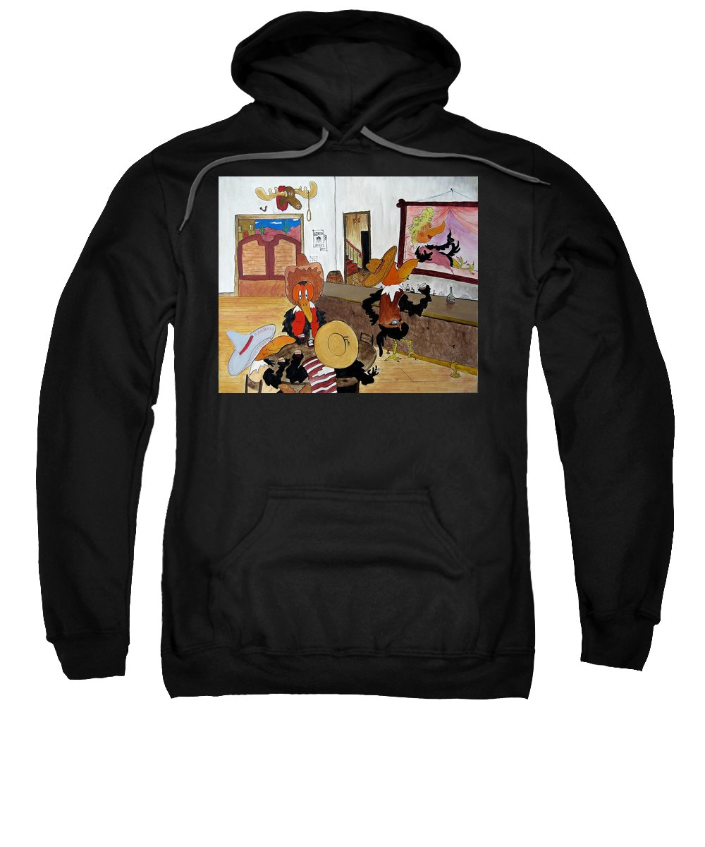 Ravens Sweatshirt featuring the painting Crow - Bar by Patrick Trotter