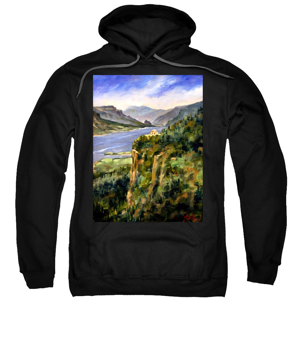 16 X 12 Sweatshirt featuring the painting Crown Point Oregon by Jim Gola