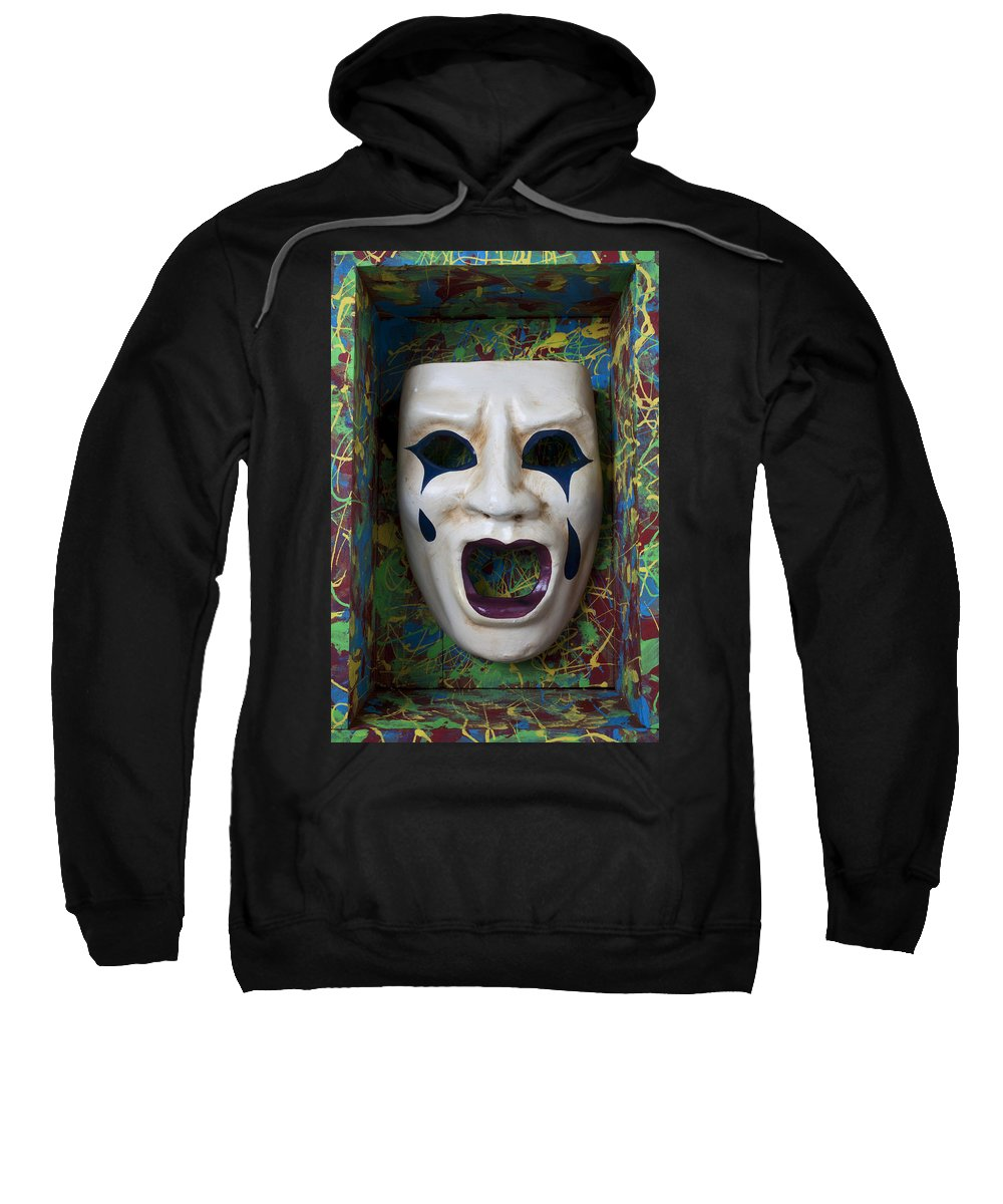 Crying Sweatshirt featuring the photograph Crying Mask In Box by Garry Gay