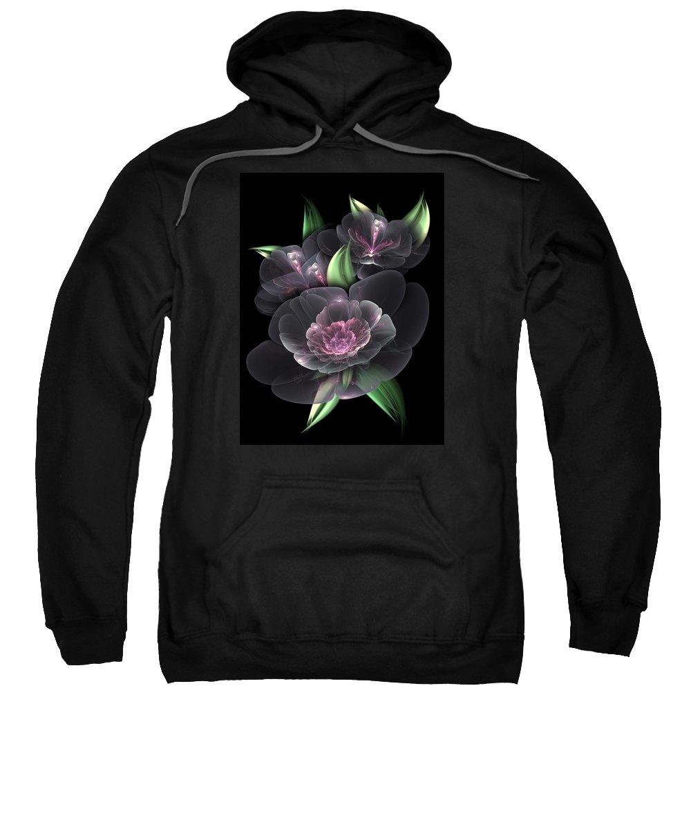 Fractal Sweatshirt featuring the digital art Crystal Bouquet by Karla White