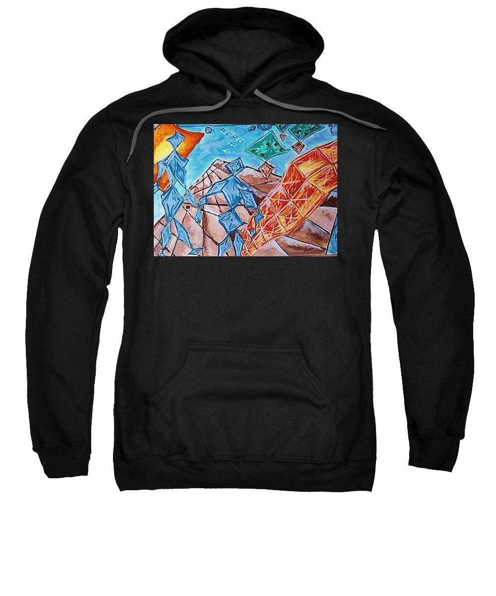 Germany Bank Sweatshirt featuring the painting Crystal City by Nila Poduschco