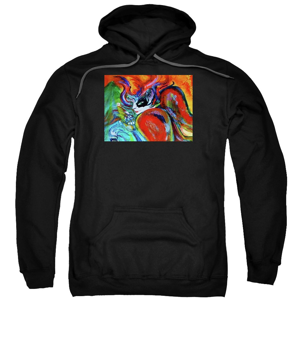 Crystal Future - Oel Sweatshirt featuring the painting Crystal Future - Part by Nila Poduschco