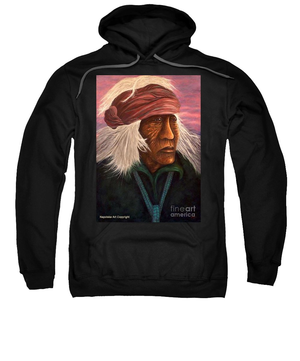 Native American Sweatshirt featuring the painting Cuauhtemoc by Barney Napolske