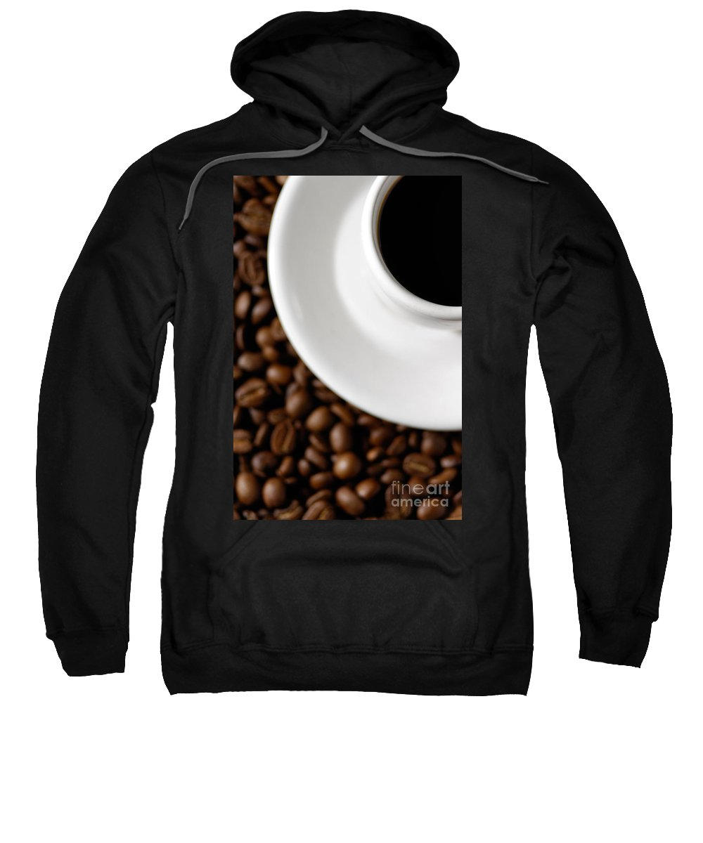 Cup Sweatshirt featuring the photograph Cup Of Black Coffee On Coffee Beans by Oleksiy Maksymenko